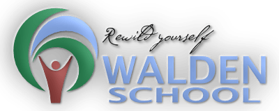 Walden School Logo quer Slogan leuchtend 3D frei